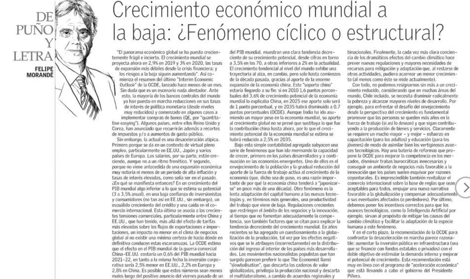 Columna de Felipe Morandé: Crecimiento económico mundial a la baja: ¿Fenómeno cíclico o estructural?